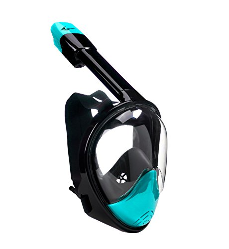 Canwryn2018 Model Full Face Snorkel Mask - 180 Panoramic View - Anti-Fog & Tubeless No Gag Design - Extra Long Snorkel - For Beginners & Experts- Limited Edition (S/M Without GoPro Attachment) (Productions Breathing Problem)