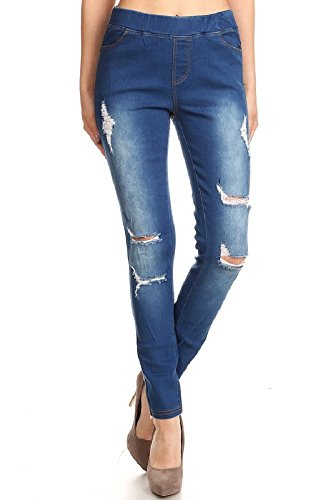 Jvini Womens Pull-On Ripped Destroyed Stretch Skinny Denim Jeggings Plus Size