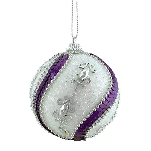 Purple Christmas Holiday Ornaments - Northlight 3ct White, Purple Sequined and Silver Beaded Shatterproof Christmas Ball Ornaments 3
