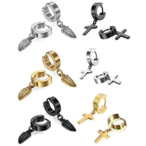Oidea Assorted 6 Pairs Stainless Steel Piercing Hoop Huggie Feather Cross Dangle Earring for Mens Womens - Charm Cross Earrings