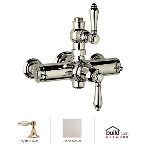 Rohl A4917LCSTN 1281Stn Country Bath Collection Exposed Thermostatic Mixer with Crystal Levers, (Rohl Exposed Thermostatic Mixer)