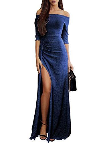 (Tiksawon Wedding Dresses for Women Evening Party 2018 Off Shoulder Glitter Bodycon Formal Prom Maxi Dress Blue M)
