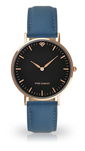 YVES CAMANI Amelie Women's Wrist Watch Quartz Analog Light Blue Leather Strap Black Dial YC1097-C-751