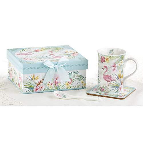 Delton Porcelain Mug-Coaster-SPN Set, Flamingo