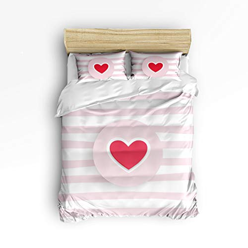 - EZON-CH Twin Size Cute 3 Piece Duvet Cover Sets for Kids Boys Girls,Heart-Shaped Stripe Pattern Pink and White,Bedroom Decorative Bedding Set Include 1 Comforter Cover with 2 Pillow Cases