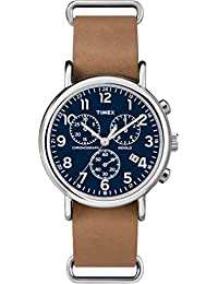 Timex TW2P62300GP Weekenders Chronograph Blue Watch with Tan Leather Strap