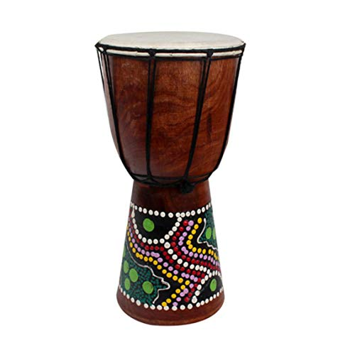 Doumbek Wood - 6 Inch African Djembe Percussion Hand Drum Mahogany Wooden Jambe Doumbek Drummer with Pattern Pure Goat Skin Surface