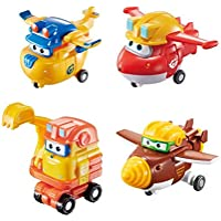 Super Wings - Transforming Toy Figures 4 Pack | Build-It Jett, Build-It Donnie, Scoop, & Todd | 2'' Scale