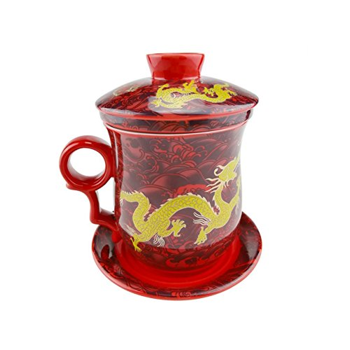 ufengke Oriental Modern Bone China Ceramic Tea Cup With Lid And Saucer, Birthday Present Cup, Hand Painted Yellow Gold Dragon, Red And (Hand Painted China Cup)