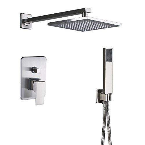 Rozin Bath 2-way Mixer Control 8-inch Rainfall Shower Head Set with Handheld Spray Brushed Nickel