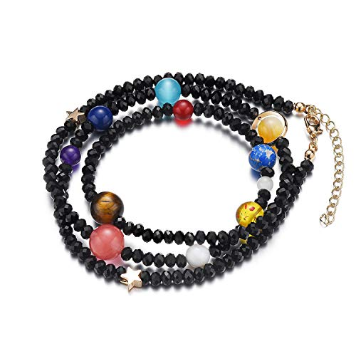 Menglina Women Stone Bead Charm Bracelet Universe Galaxy The Eight Planets Nine Planets in The Solar System Guardian Star Bracelets (On The Planet Or In The Planet)