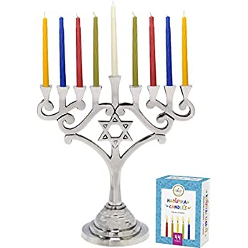 Zion Judaica Classic Hanukkah Menorah Aluminum with Star of David Blues Enameled