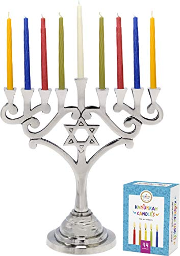 (Hanukkah Menorah Traditional Design With Star of David Aluminum With 44 Colored candles For Chanukah)