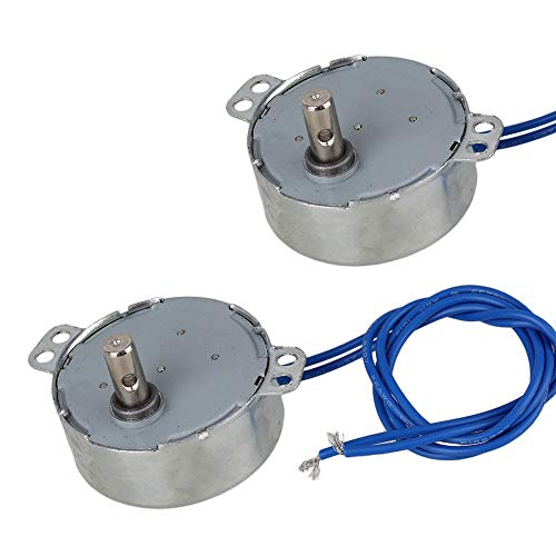 BestTong Synchronous Synchron Motor AC 100~127V 50/60Hz 4W 2.5-3RPM/MIN CCW/CW Crafts Rotate Exhibition/Oscillating Fan Motor Microwave Oven Gear Motor 2 PCS