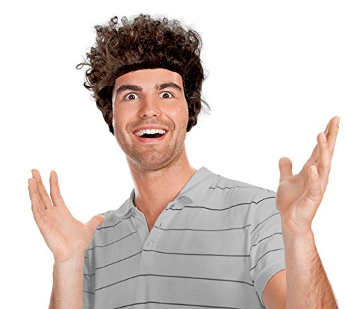 Men's Adult Brown Afro Frizz Kramer Costume Wig Dylan Wig]()