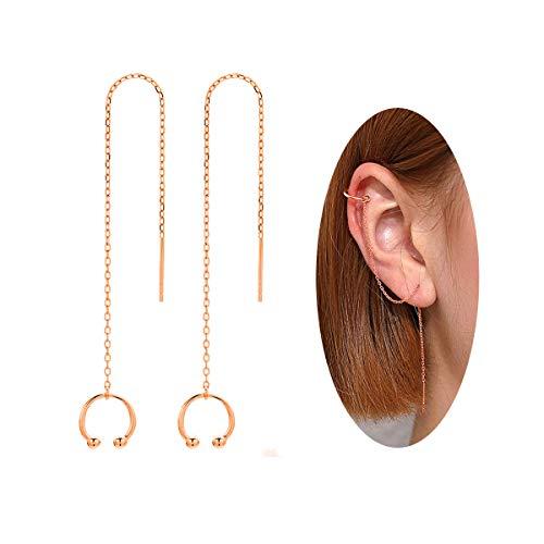 NewAmaz 925 Sterling Silver Cuff Chain Earrings Wrap Tassel Earrings for Women Clip On Earrings (Rose Gold)