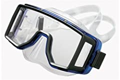 High quality liquid injection silicone. Split silicone mask strap and locking sdjustment. Tri-view tempered glass lenses for superior view. Packaged in reusable clear plastic mask box.
