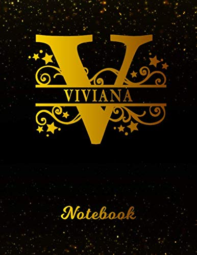 Viviana Notebook: Letter V Personalized First Name Personal Writing Notepad Journal | Black Gold Glitter Pattern Effect Cover | College Ruled Lined ... Taking | Write about your Life & Interests