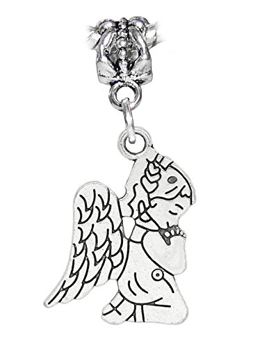Praying Angel Charm - Praying Angel Little Girl in Pajamas Dangle Charm for European Bead Bracelets Crafting Key Chain Bracelet Necklace Jewelry Accessories Pendants