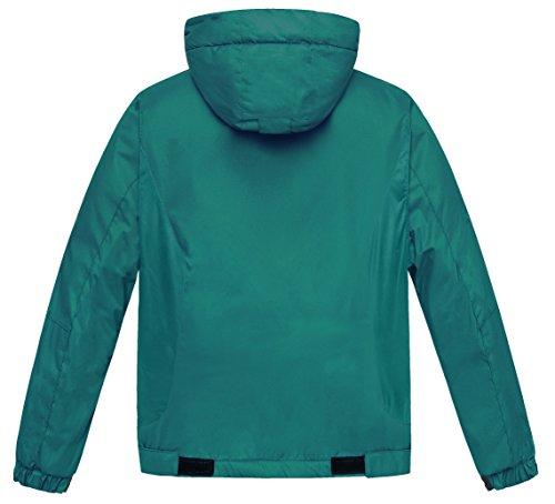 Wantdo Boy's Windproof Skiing Jacket Fleece Lined Hoodies Short Parka Rainwear(Blackish Green, 10/12) by Wantdo (Image #2)
