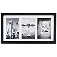 Golden State Art, 8.5x16.3 Black Photo Wood Collage Frame with REAL GLASS and White Mat displays (3) 5x7 pictures