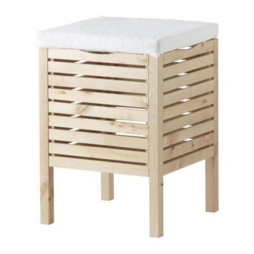 Badhocker mit wäschetruhe  IKEA Badhocker mit Sitzbezug & Aufbewahrung MOLGER, Birke massiv ...