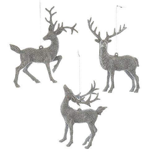 Kurt Adler 5.5-Inch - 5.9-Inch Silver Deer Christmas Ornament Set of 3 - Christmas Deer Ornaments: Amazon.com