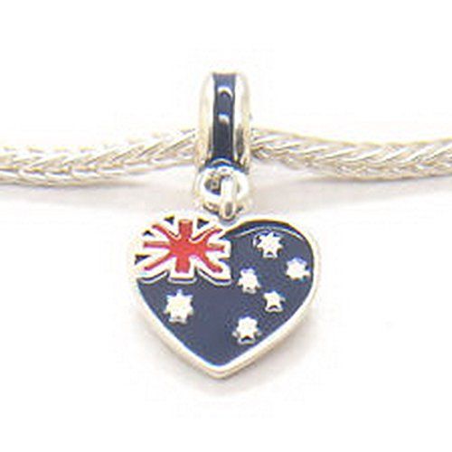 Burts Beads - New 925 Sterling silver Australian Heart Flag W Enamel Hanging Bead Dangle charm (Aussie Flag Dress)
