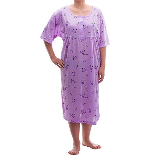 Lucky verano camisón transparente pijamas de pastel Jersey Manga Corta Flores Camisón Transparente Grande tamaños 3X L–�?x l Purple - Lilac