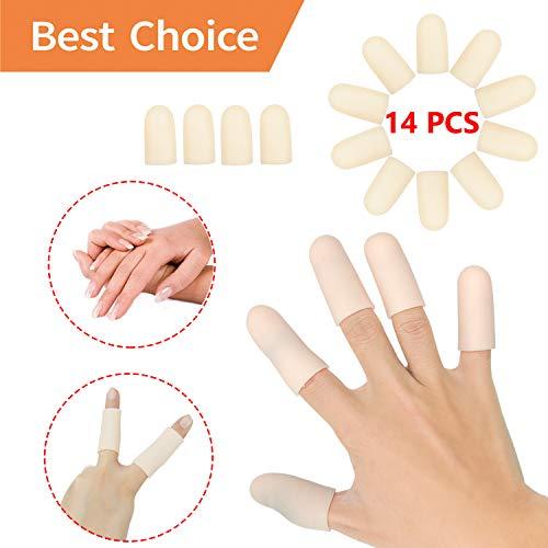 Gel Finger Cots, Finger Protector Support(14 PCS) New Material Finger Sleeves Great for Trigger Finger, Hand Eczema, Finger Cracking, Finger Arthritis and More. (Nude, Middle Size) ()
