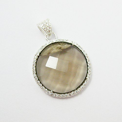 Sterling Silver Pave Bezel Gemstone Pendant - Smokey Quartz Gemstone - Large Round Coin CZ Pave Necklace Pendant ()