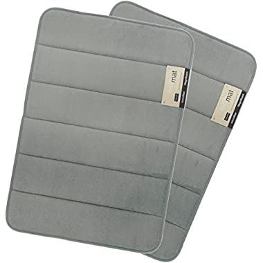 Magnificent Memory Foam Bath Rug Bath Mat Non-slip Anti-bacterial Bathroom Mat - Maximum Absorbency Soft Bath Mat - Comfortable on Foot and stylish - 17 X 24 inch - 2 Pack (Grey)