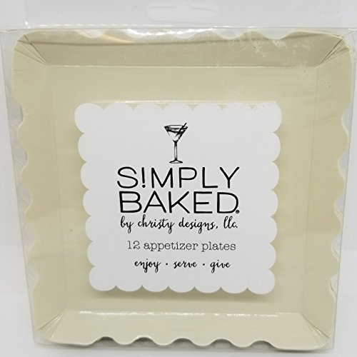 Baking Days Green Dinnerware - Simply Baked Large Paper Appetizer Plate, Pearl, 12-Pack, 5-inch Square