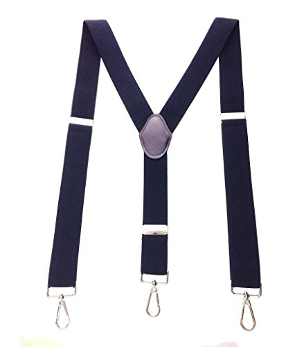 Romanlin Suspenders for Men with Hooks 3 Adjustable Clips Heavy Duty Big and Tall Belt Loops Suspenders Braces