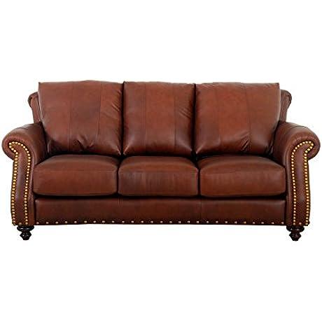 Westland And Birch Made To Order Randolph Genuine Top Grain Leather Nailhead Trimmed Sofa Walnut