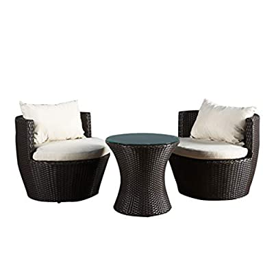 Christopher Knight Home 296323 Kyoto Outdoor Patio Furniture Brown Wicker 3-Piece Chat Set w/Cushions - Gather on the porch, patio or by the pool and catch some sun and good conversation with this three piece chat set. Brown wicker and beige weather resistant cushion covers combine for a classic, contemporary style sure to elevate your backyard style. A charming pedestal glass top table provides the perfect amount of surface space for holding cocktails and snacks. The sturdy Kyoto low back chairs feature back bolsters that offer superior lumbar support Includes: Two (2) Chairs, Two (2) Seat Cushions, Two (2) Back Bolsters, One (1) Table Materials: Wicker; Frame Material:  Aluminum - patio-furniture, patio, conversation-sets - 41MsTD%2BVw4L. SS400  -