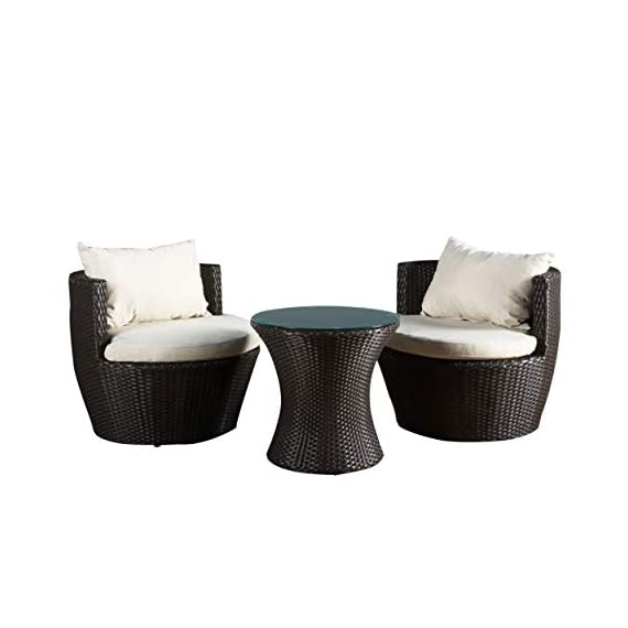 Christopher Knight Home 296323 Kyoto Outdoor Patio Furniture Brown Wicker 3-Piece Chat Set w/Cushions - Gather on the porch, patio or by the pool and catch some sun and good conversation with this three piece chat set. Brown wicker and beige weather resistant cushion covers combine for a classic, contemporary style sure to elevate your backyard style. A charming pedestal glass top table provides the perfect amount of surface space for holding cocktails and snacks. The sturdy Kyoto low back chairs feature back bolsters that offer superior lumbar support Includes: Two (2) Chairs, Two (2) Seat Cushions, Two (2) Back Bolsters, One (1) Table Materials: Wicker; Frame Material:  Aluminum - patio-furniture, patio, conversation-sets - 41MsTD%2BVw4L. SS570  -