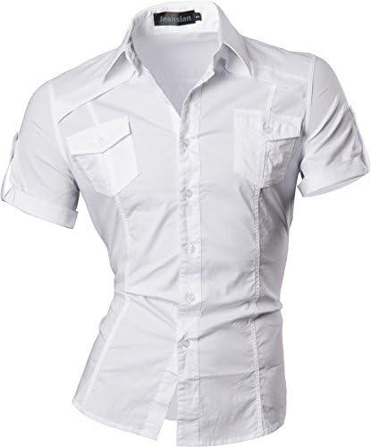 男性用 メンズ スリムフィット 半袖 カジュアル シャツ ワイシャツ 8360