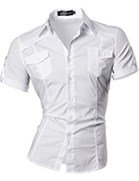 jeansian Men's Slim Fit Short Sleeves Casual Shirts 8360