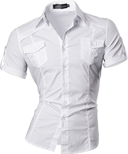 f104af54654 jeansian Men s Slim Fit Short Sleeves Casual Shirts 8360 White X-Large