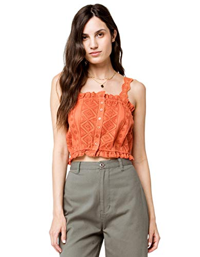 Sky and Sparrow Eyelet Button Front Rust Crop Cami, Rust, X-Large