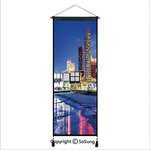 City Tapestry Wall Hanging,Resort Casinos on Shore at Night Atlantic City New Jersey United States,Home Art Decor Beautiful Apartment Dorm Room Decoration,17.7