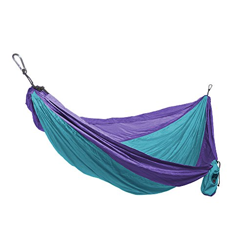 Grand Trunk Single Parachute Nylon Hammock with Carabiners and Hanging Kit: - Perfect for Outdoor Adventures, Backpacking, and Festivals, Sky Blue/Purple