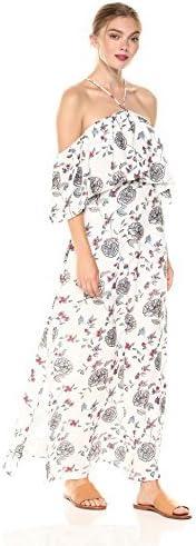 فستان نسائي طويل من Lucca Couture بشريط مزين بالزهور مزين بكشكشة