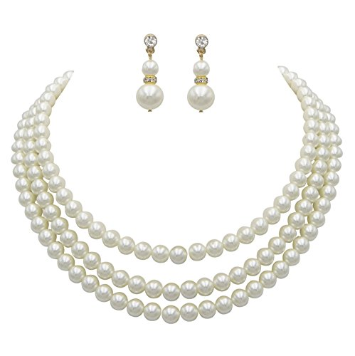 (Rosemarie Collections Women's Multi Strand Classic Cream Faux Pearl Necklace and Earrings Jewelry Set)