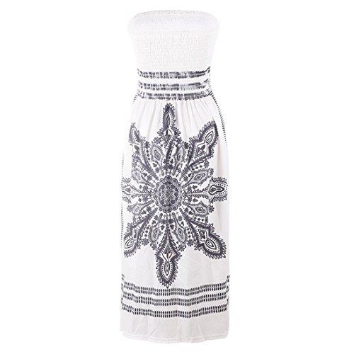 Mini Robes Manches De Blanc Bustier Shinekoo Sans Casusal Denudee Imprimé Sexy Epaule Eté Femme Boheme Plage ARScL4q35j