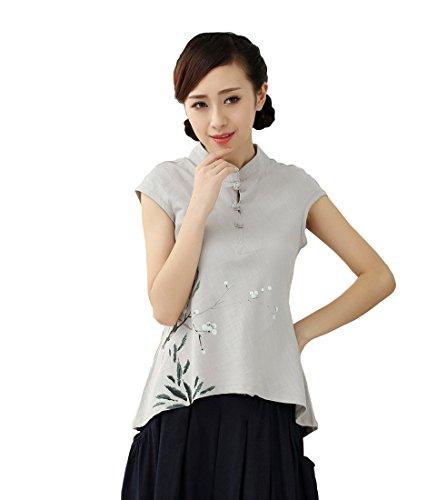 Yue Lian Damen Baumwolle Ärmellos Pflaumenblüte Muster Bluse Sommerbluse Sommer Strandmode Abend