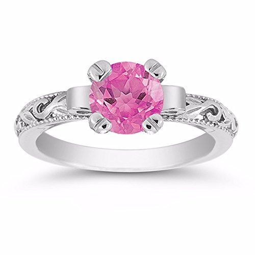 - Apples of Gold Pink Topaz Paisley Ring in .925 Sterling Silver - Size 8