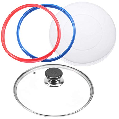9 inch Tempered Glass Lid for Instant Pot 6 Quart, Silicone Lid Silicone Cover for Instant Pot 6 Quart, Silicone Sealing…