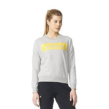adidas ESS Linearsweat Sudadera, Mujer, Gris/Amarillo (Brgrin/Eqtama), XL: Amazon.es: Deportes y aire libre